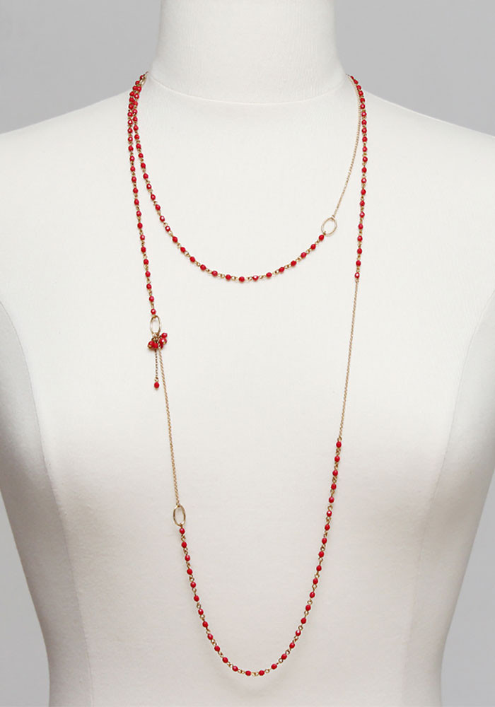 Charleston Small long necklace - Coral